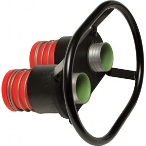 "Double Dry Break Valve with Handle Redhead (Male) 100mm Center, 2.5"" Probe, 2.25 Hose Barb, 2.0"" I.D. Bore"