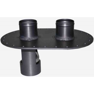"Dual 2.25"" Road Racing 6x10 Fill Plate- Aluminum - (Fill w/ Wagon Wheel, Vent w/ Check Ball)"