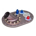 "Multi location 6X10, aluminum fill plate with 2.25"" 45 degree remote fill valve, one -8 pickup,"